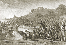 Illustration of the Embarkation of the Vaudois at Prangins (after a lithograph by J Hebert)