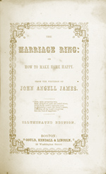 Title Page of The Marriage Ring: or How to Make a Happy Home by John Angell James (Book on Christian Relationships, Dating, Courting, Marriage)